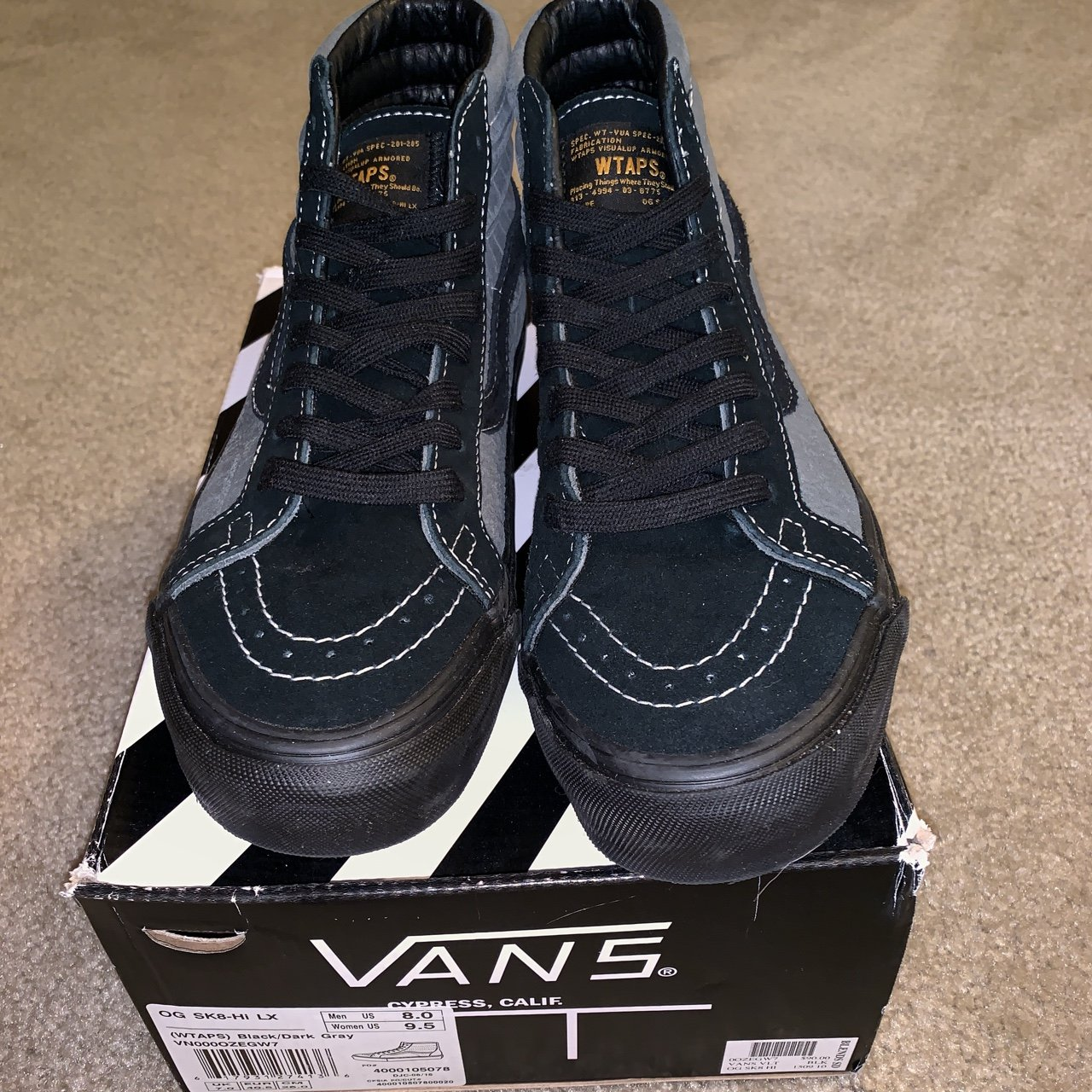6fe3127c30 Vans OG Sk8 Hi LX WTAPS Black Dark Gray. Men s size 9.5. in - Depop