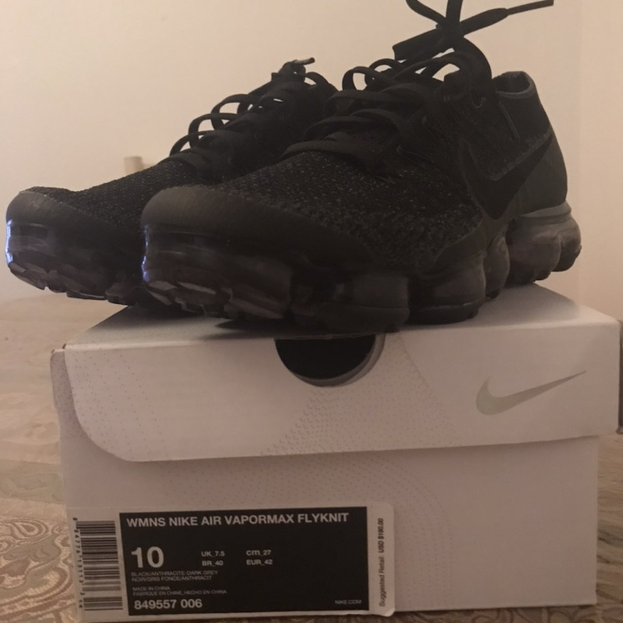 """94f6fdb6bab A pair of WMNS nike air vapormax flyknit in the """"Black price - Depop"""