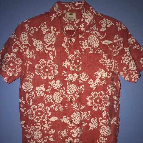 566a783e06 Vans Off The Wall Floral Hawaiian Shirt. Size small. Has but - Depop