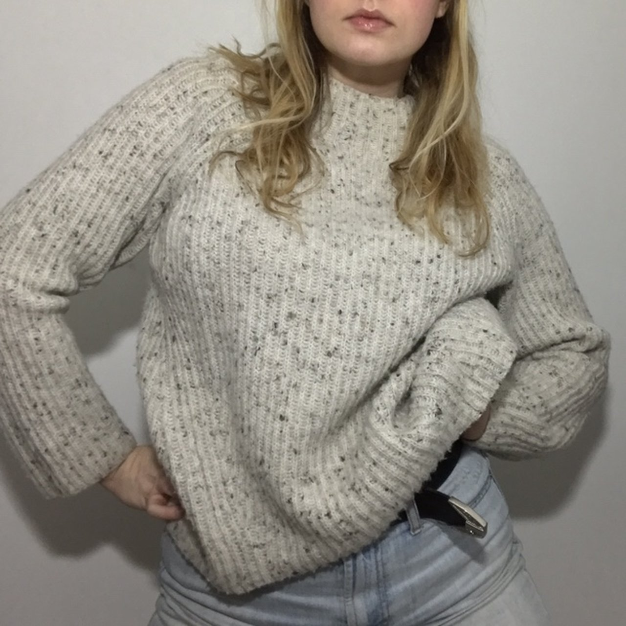 04a9f3f51e Off white cable knit sweater with black dots what does depop jpg 1280x1280 White  cable knit