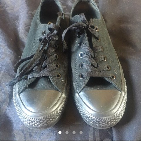 Size 6 Black Converse Trainers Only Worn Once Lace Up Work Depop