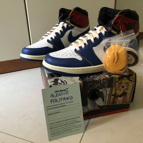 e4bf1bc85d0 @apolitano. 6 months ago. Benevento, Italia. Nike Air Jordan 1 x Union Los  Angeles - Blue Toe - US 9