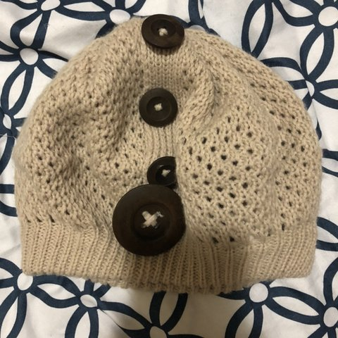 b05cb304e2144c Tan beige knit beanie hat with brown buttons Black white - Depop
