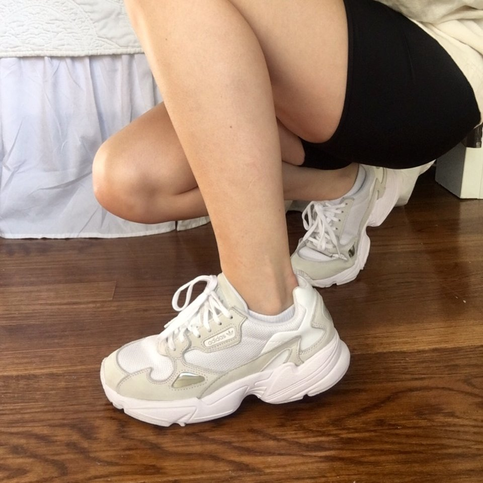 complete in specifications save off quality products Women's Adidas Falcon, Triple White Sneakers US W... - Depop