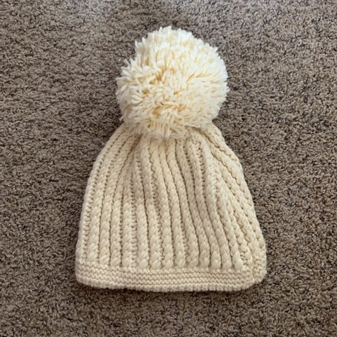 a1bec218550 White knit beanie with HUGE puff ball at top! Super cute