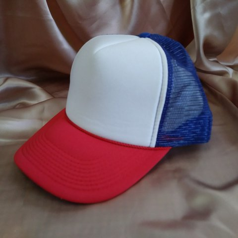 fdc52fc6a17e9 blue red white trucker hat SIZE  One Size This is exactly - Depop