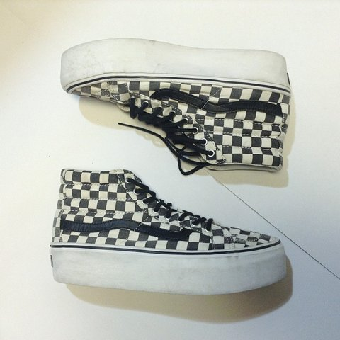 c0aff60e48 Sk8 Hi Black   White Checkered Platform Vans ⚠️Price Drop - Depop
