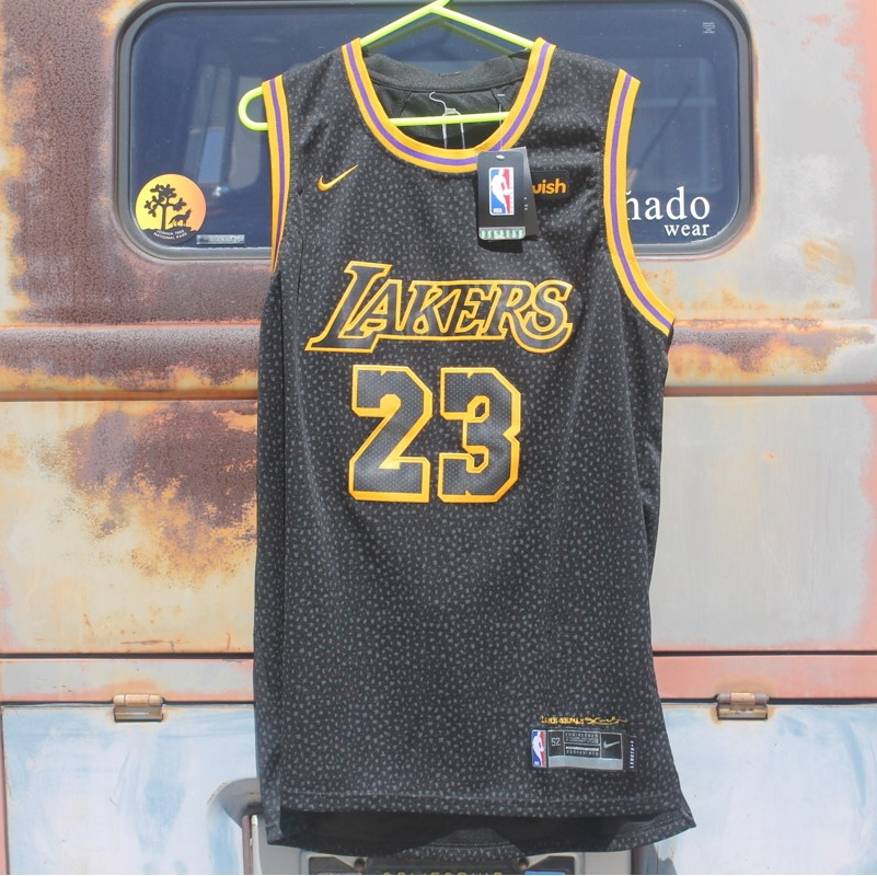 watch 517ca d2815 NBA new style Lakers Jersey. Black on yellow. With... - Depop