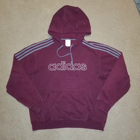 6bc3f1345ab9 Vintage 1990s Adidas Silver Spell Out Maroon Pullover Hoodie - Depop