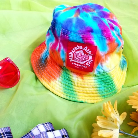 e233b2a78a7f8 gnarly 90s resurgence rainbow tie-dye bucket hat from - with - Depop