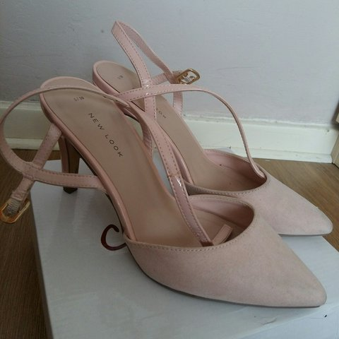 0822eb7734a New Look SIZE 5 ankle strap heels in suede baby pink. for - Depop