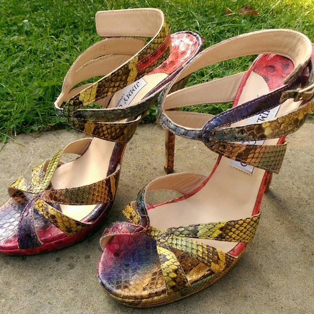 ef35ffca18b Genuine Jimmy Choo limited edition snake skin sandals shoes