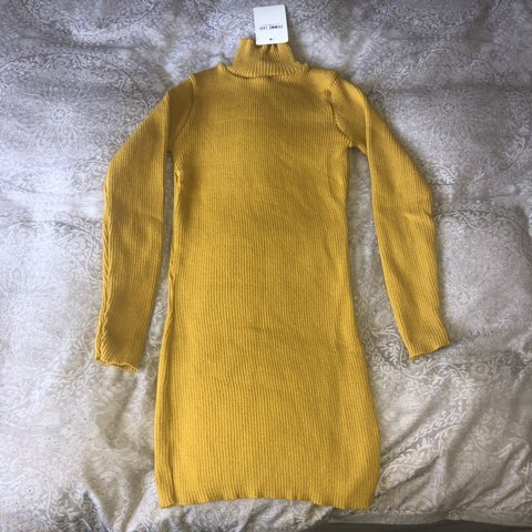 1a47670714c Mustard high neck body on Jumper dress. Fits so lovely