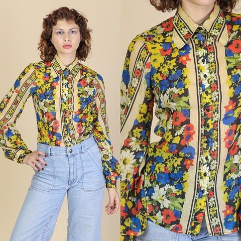 f7e9bdac4a Vintage 70s semi-sheer floral blouse with a retro