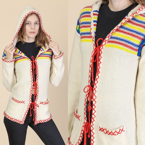 f925ea08e2 Vintage 70s boho hooded floral cardigan with red ties on the front. ~~~~