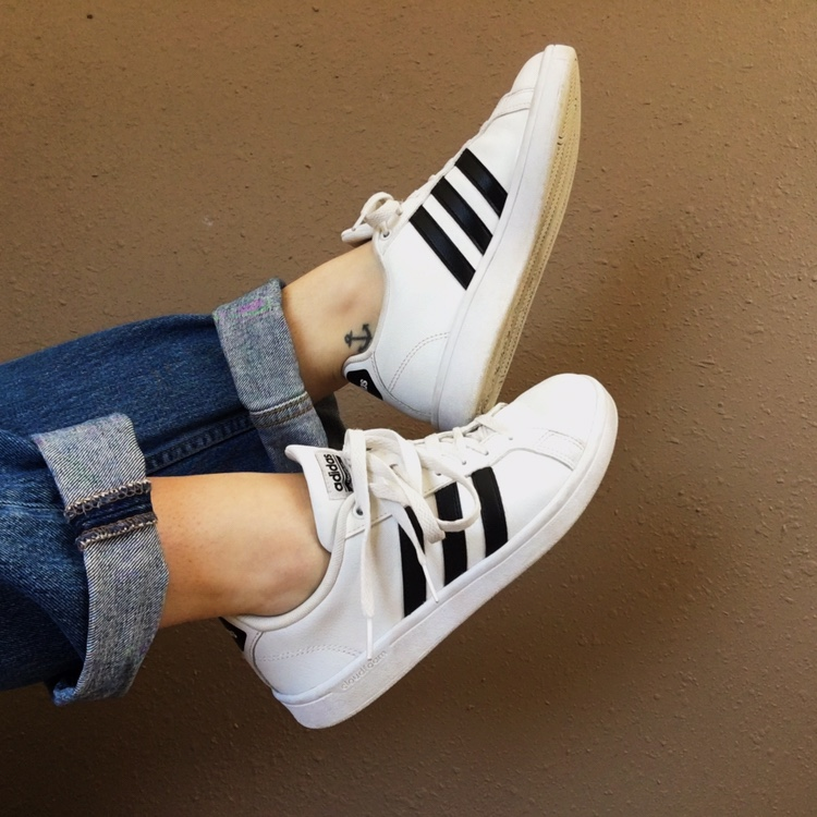White Adidas Cloudfoam shoes with black...