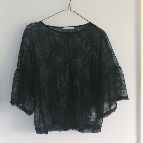 c68c8730cc52 Zara black sheer lace top with bell sleeves. Size M. I'm an - Depop