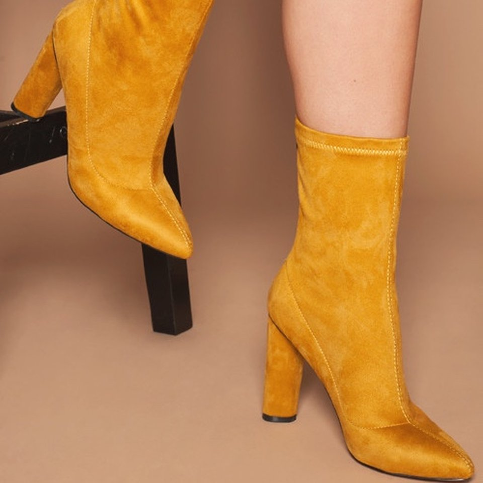 Mustard yellow suede ankle boots Just