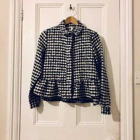 0e4bd4b80e2 Asos Africa Checked Check Plaid Peplum Jacket Size 10 Black - Depop
