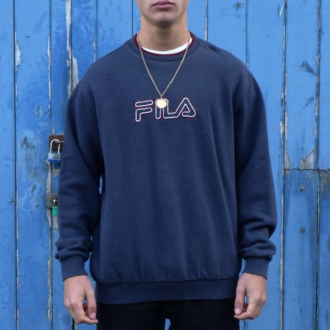 7c128c0c5 FILA embroidered logo sweatshirt in navy and burgundy trim. - Depop