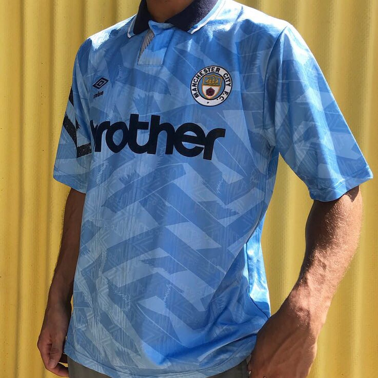 c82d85e443d UMBRO retro Man City shirt. Perfect for summer ! No size But - Depop