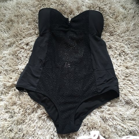a060082807098 Primark black mesh swimsuit with gold bar detail at the top - Depop