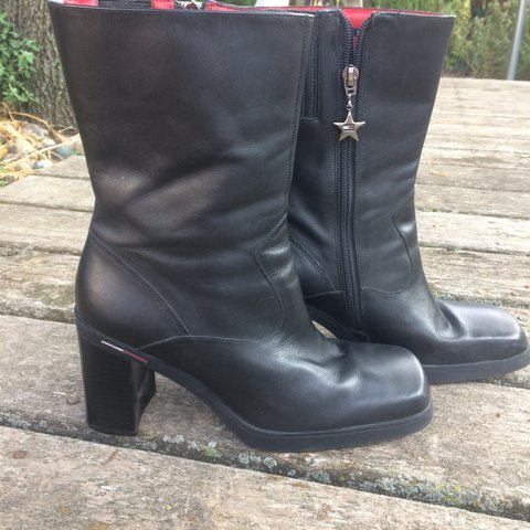 dd76a2374 Vintage 90s Tommy Hilfiger Boots. Retro chunk heel with red - Depop