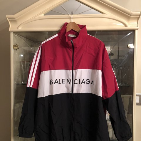 4dc53836 ON HOLD- Balenciaga Track Jacket Black/White/Red Worn a of - Depop