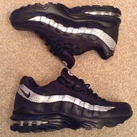 5a8c706c75 ... official rare nike air max 95 shoes black and silver uk size 5. from  depop ...