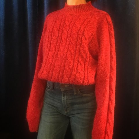 f2960401c7 CHUNKY MOCK NECK KNIT SWEATER Beautiful knitted detailing