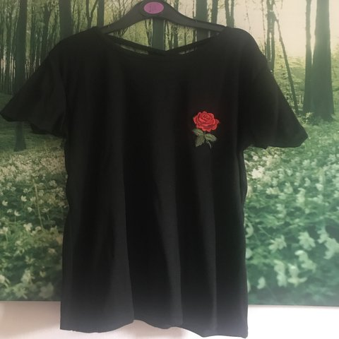 ea987554e60c9 @jodiebowey. 11 months ago. Canterbury, United Kingdom. SHEIN rose  embroidered patch cross back black ...