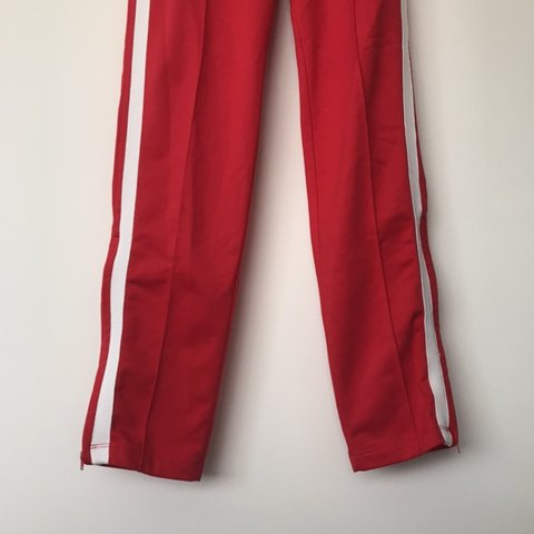 573a45cd RED TRACK PANTS WITH WHITE SIDE STRIPES & ADJUSTABLE TIE S - - Depop