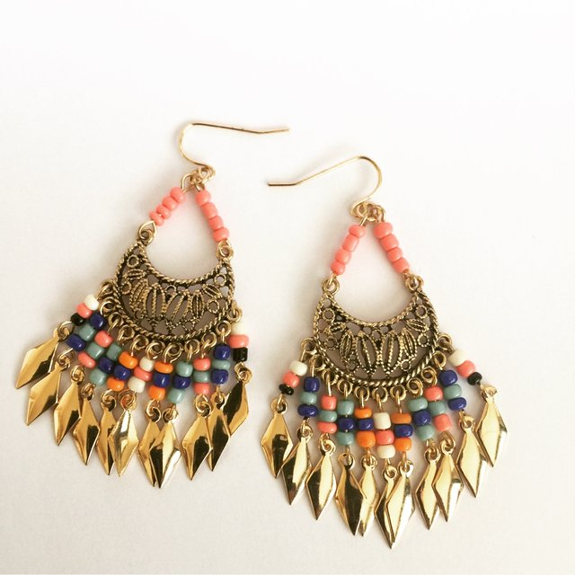 Antique gold + bead effect boho chic drop earring