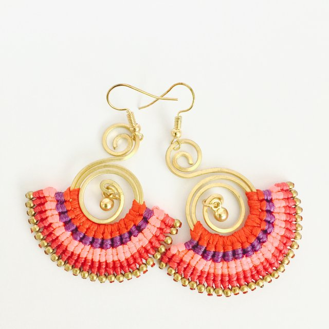 Antique gold + thread tribal boho chic drop earring
