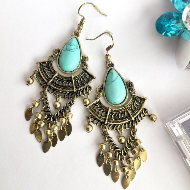 Antique gold and turquoise stone effect boho chic drop earring