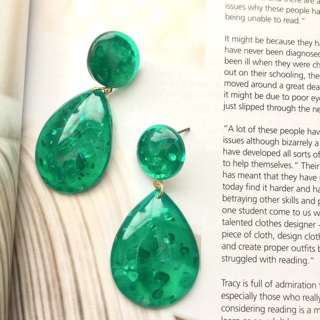 Pear shaped transparent green acrylic earrings