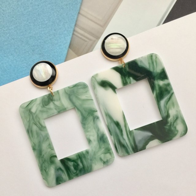 Trendy green and white marble effect geometric rectangle earrings