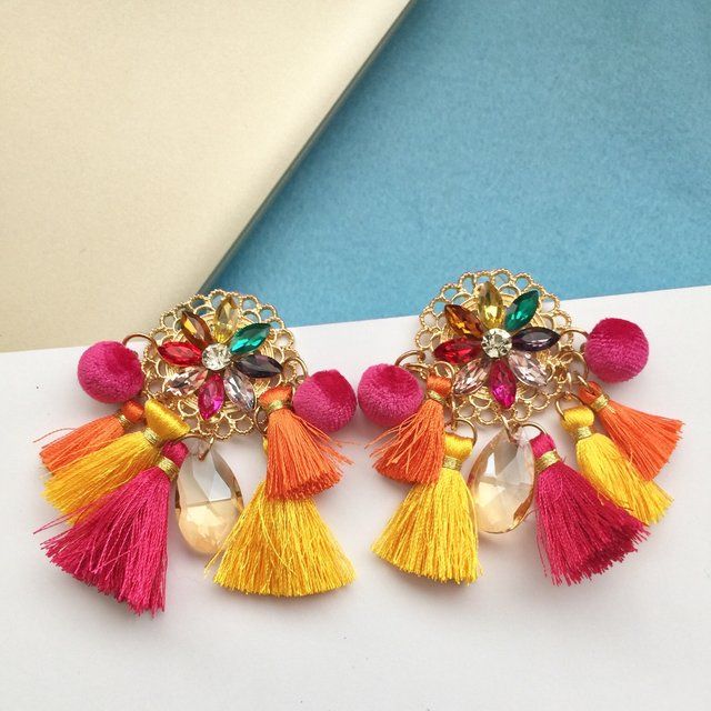 Boho colourful jewel and tassel earrings