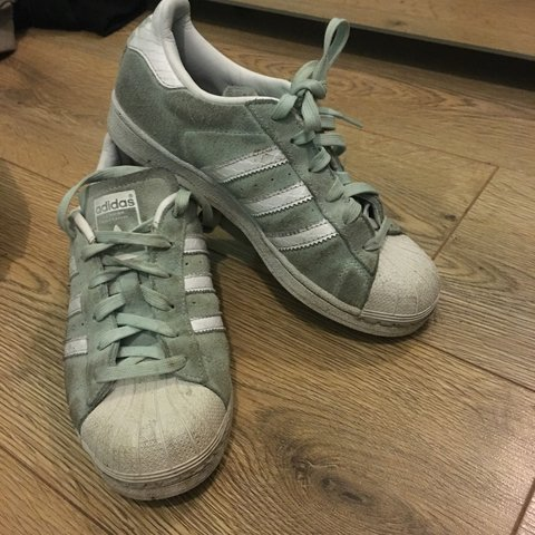 best loved a508b 056bb  jodieflay. 6 days ago. Swansea, United Kingdom. Adidas suede superstars. Mint  green and white
