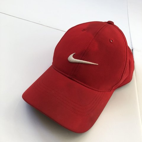63ebb6db83c8 All red Nike strap back hat with a pretty noticeable stain a - Depop