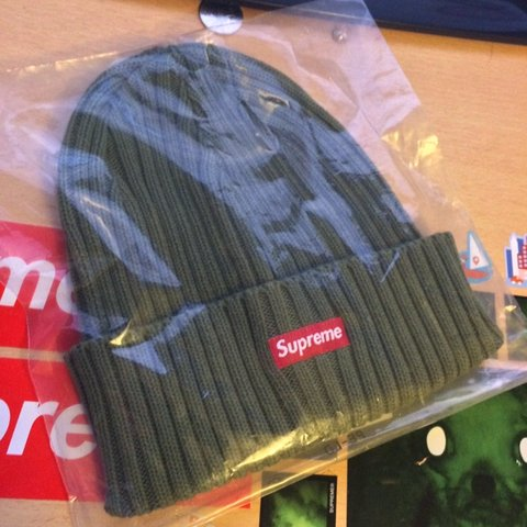 83f69ce5747b9 Supreme FW18 Overdyed ribbed beanie - Washed Olive ✅ 11 10 - Depop