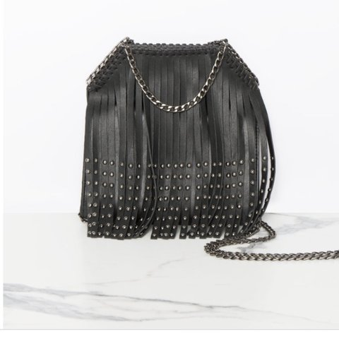 87b36cc0c8 Missy empire black tassel bucket bag with chain Sold out - Depop