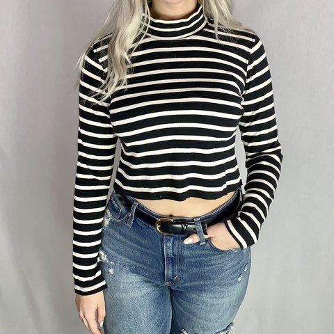 b09271223 @fashion_ferret. 5 months ago. San Antonio, United States. Crop top cropped  sweater t shirt striped black white mock neck ...
