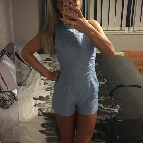 ab2e218cd460 Missguided size 8 playsuit baby blue with slight netted Worn - Depop