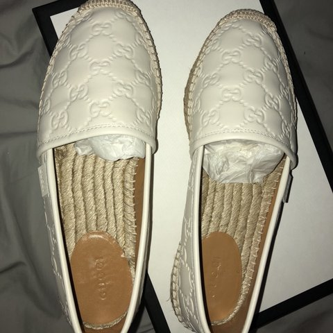 d4c7058e382 Gucci signature leather espadrille (37  U.K 4) Worn once. - Depop