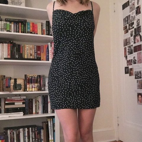 116d06a0341 Princess Polly green mini slip dress with white polka dots a - Depop