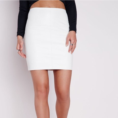 74e5ef7607 Brand new with tags! Size 10 faux leather white mini skirt - Depop