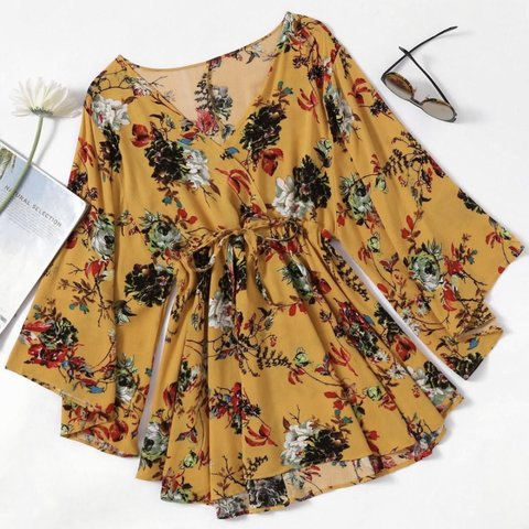 5fec7dfddf2 price includes p   p HIT BUY - Yellow floral dress with - Depop