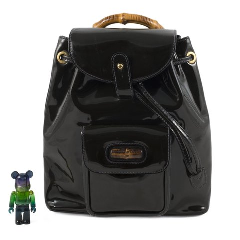 855baeb3758 Gucci Bamboo black patent leather mini backpack. The front - Depop