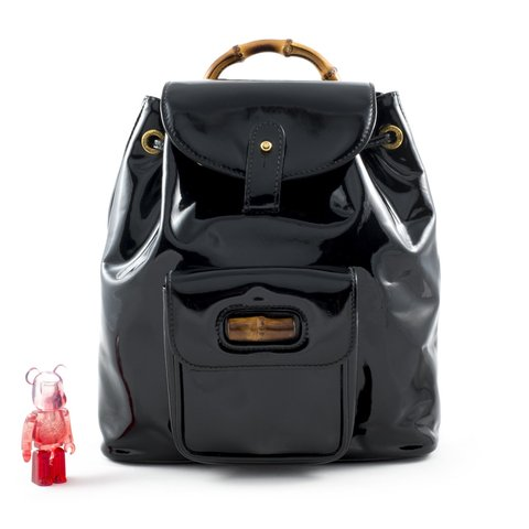 770cd380199446 @cutecandycouture. 3 hours ago. United Kingdom, GB. Gucci Bamboo black  patent leather mini backpack.